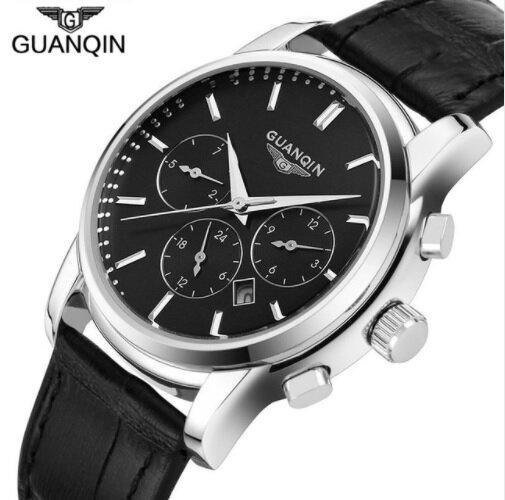 bb627f874 Pánské hodinky, Business, černý kožený pásek